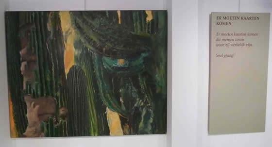 teksten van laurens van der zee bij de vitrineschilderijen van araun gordijn op de bovenverdieping van galerie het koetshuis in museum de casteelse poort